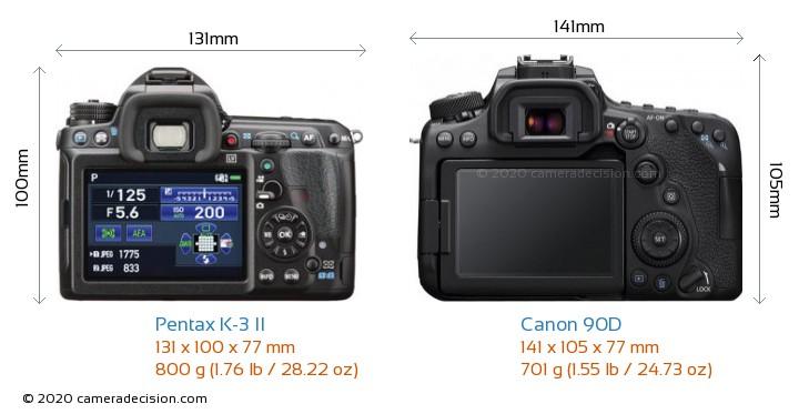 Pentax K-3 II vs Canon 90D Camera Size Comparison - Back View