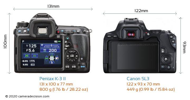 Pentax K-3 II vs Canon SL3 Camera Size Comparison - Back View