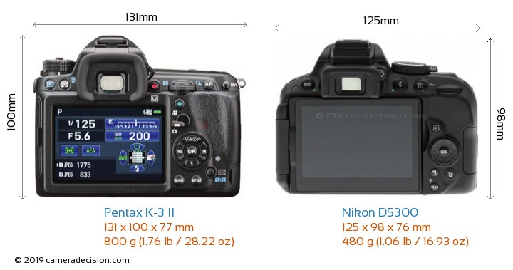 Pentax K-3 II vs Nikon D5300 Camera Size Comparison - Back View