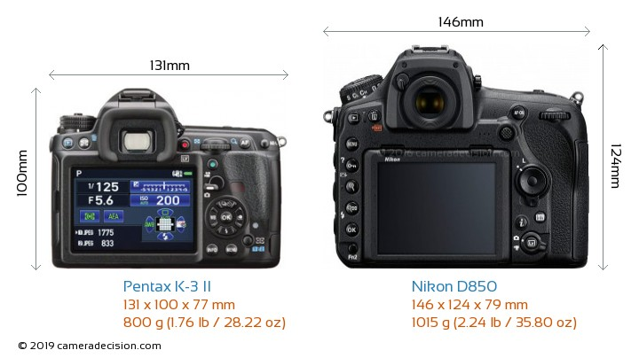 Pentax K-3 II vs Nikon D850 Camera Size Comparison - Back View