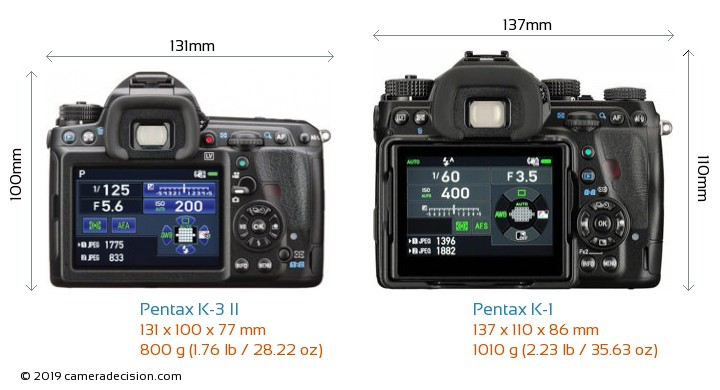 Pentax K-3 II vs Pentax K-1 Camera Size Comparison - Back View