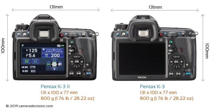Pentax K-3 II vs Pentax K-3 Camera Size Comparison - Back View