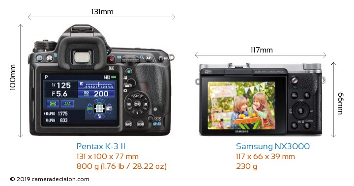 Pentax K-3 II vs Samsung NX3000 Camera Size Comparison - Back View