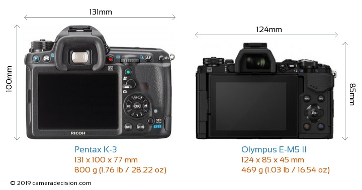 Pentax K-3 vs Olympus E-M5 II Camera Size Comparison - Back View