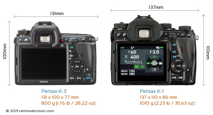 Pentax K-3 vs Pentax K-1 Camera Size Comparison - Back View