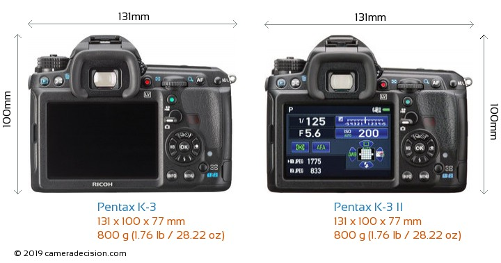 Pentax K-3 vs Pentax K-3 II Camera Size Comparison - Back View