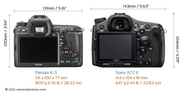 Pentax K-3 vs Sony A77 II Camera Size Comparison - Back View