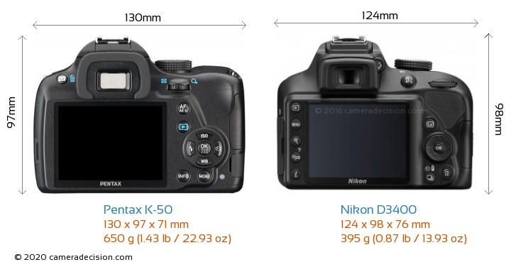 Pentax K-50 vs Nikon D3400 Camera Size Comparison - Back View