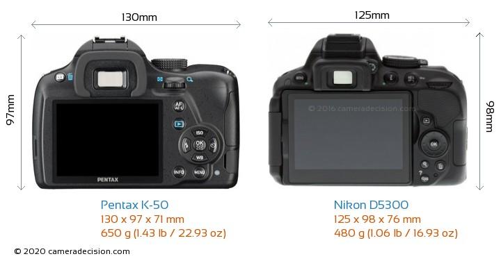 Pentax K-50 vs Nikon D5300 Camera Size Comparison - Back View