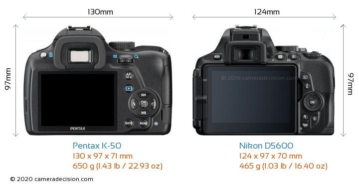 Pentax K-50 vs Nikon D5600 Camera Size Comparison - Back View