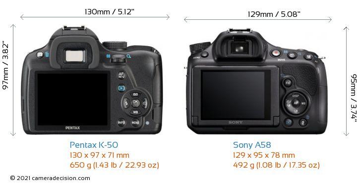Pentax K-50 vs Sony A58 Camera Size Comparison - Back View
