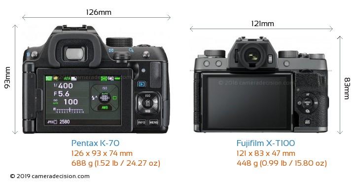 Pentax K-70 vs Fujifilm X-T100 Camera Size Comparison - Back View