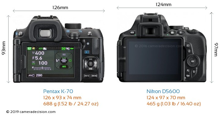 Pentax K-70 vs Nikon D5600 Camera Size Comparison - Back View