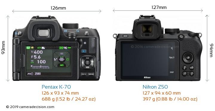 Pentax K-70 vs Nikon Z50 Camera Size Comparison - Back View