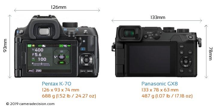 Pentax K-70 vs Panasonic GX8 Camera Size Comparison - Back View