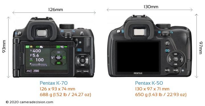 Pentax K-70 vs Pentax K-50 Camera Size Comparison - Back View
