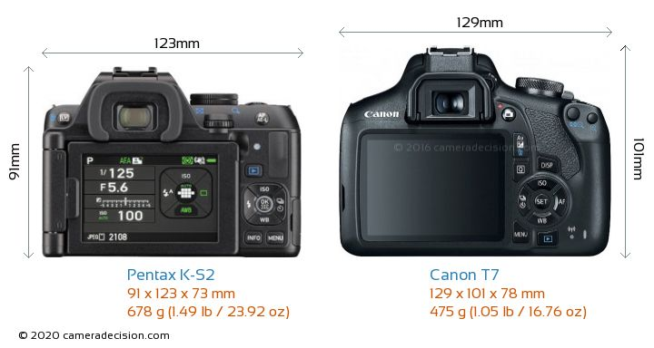 Pentax K-S2 vs Canon T7 Camera Size Comparison - Back View