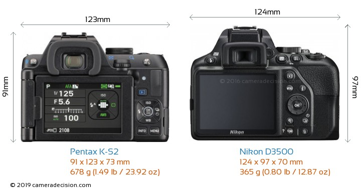 Pentax K-S2 vs Nikon D3500 Camera Size Comparison - Back View