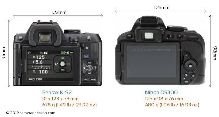 Pentax K-S2 vs Nikon D5300 Camera Size Comparison - Back View