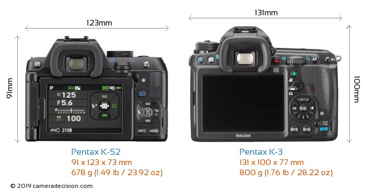 Pentax K-S2 vs Pentax K-3 Camera Size Comparison - Back View