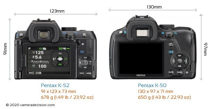 Pentax K-S2 vs Pentax K-50 Camera Size Comparison - Back View