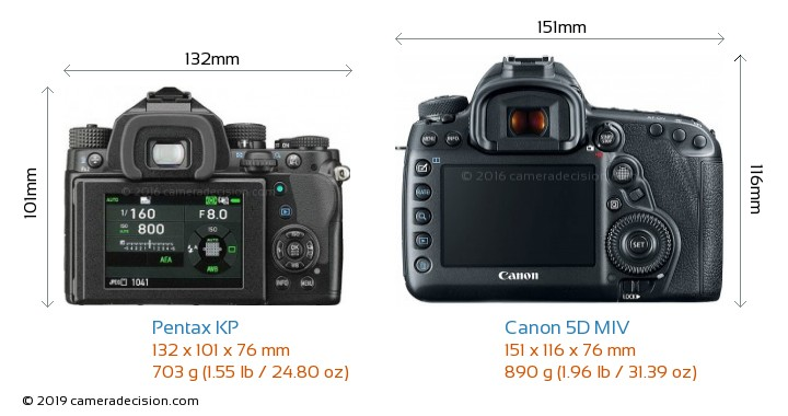 Pentax KP vs Canon 5D MIV Camera Size Comparison - Back View