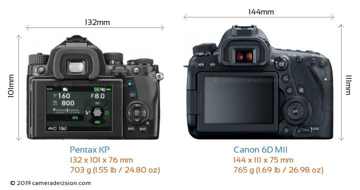 Pentax KP vs Canon 6D MII Camera Size Comparison - Back View