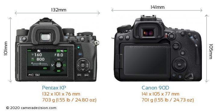 Pentax KP vs Canon 90D Camera Size Comparison - Back View