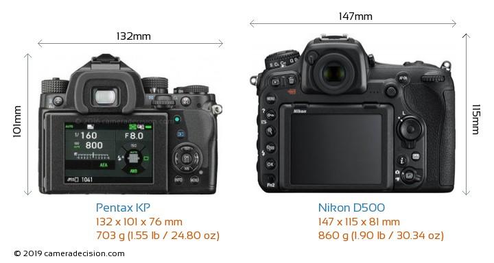 Pentax KP vs Nikon D500 Camera Size Comparison - Back View