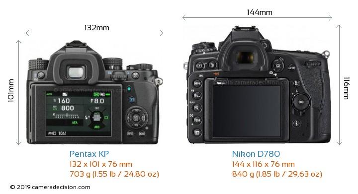 Pentax KP vs Nikon D780 Camera Size Comparison - Back View