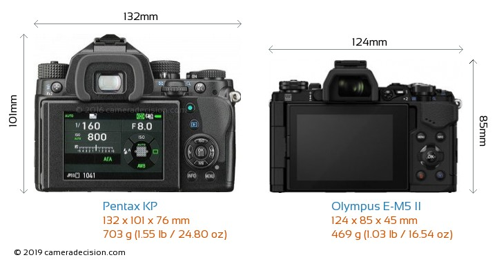 Pentax KP vs Olympus E-M5 II Camera Size Comparison - Back View