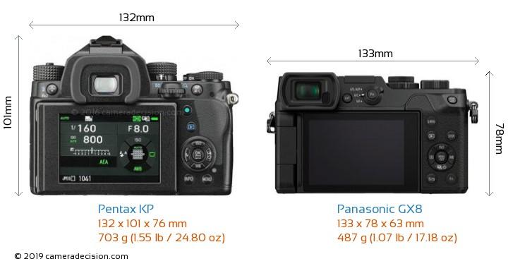 Pentax KP vs Panasonic GX8 Camera Size Comparison - Back View