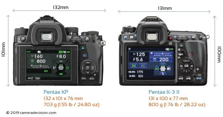 Pentax KP vs Pentax K-3 II Camera Size Comparison - Back View