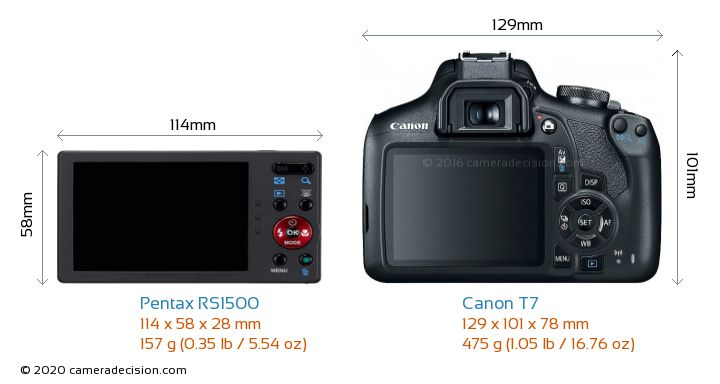Pentax RS1500 vs Canon T7 Camera Size Comparison - Back View