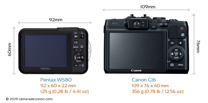 Pentax WS80 vs Canon G16 Camera Size Comparison - Back View