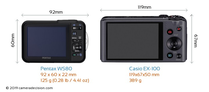 Pentax WS80 vs Casio EX-100 Camera Size Comparison - Back View