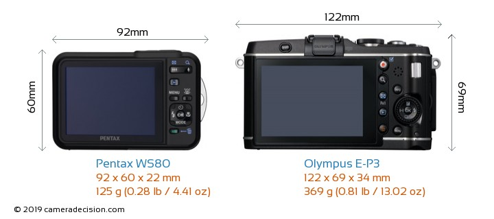 Pentax WS80 vs Olympus E-P3 Camera Size Comparison - Back View