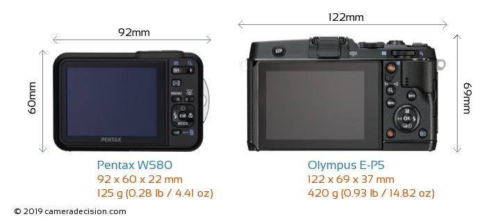 Pentax WS80 vs Olympus E-P5 Camera Size Comparison - Back View