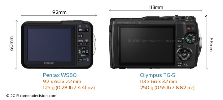 Pentax WS80 vs Olympus TG-5 Camera Size Comparison - Back View