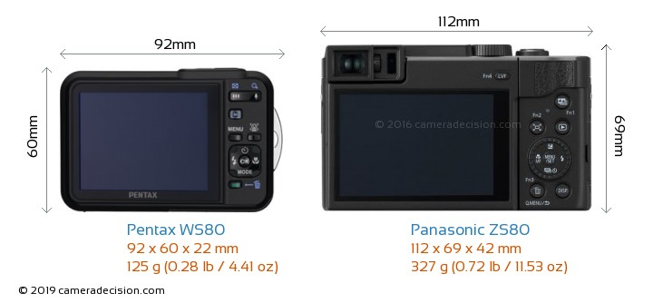 Pentax WS80 vs Panasonic ZS80 Camera Size Comparison - Back View