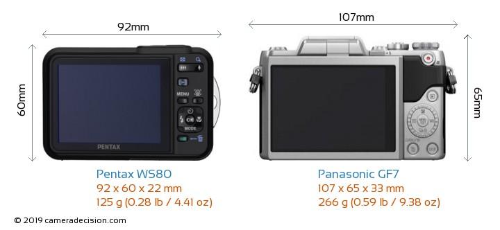 Pentax WS80 vs Panasonic GF7 Camera Size Comparison - Back View