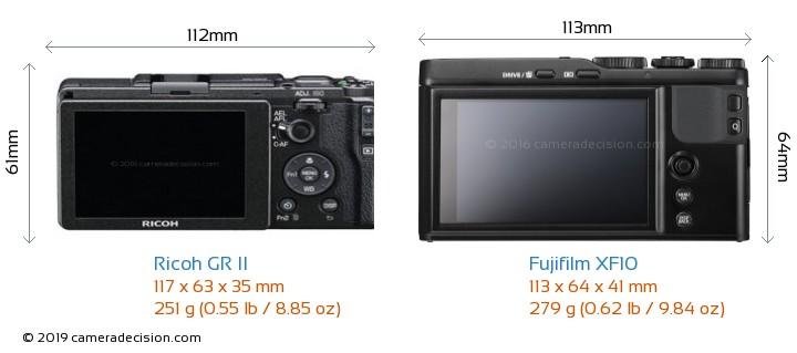 Ricoh GR II vs Fujifilm XF10 Camera Size Comparison - Back View