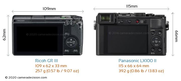 Ricoh GR III vs Panasonic LX100 II Camera Size Comparison - Back View