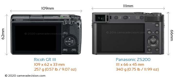 Ricoh GR III vs Panasonic ZS200 Camera Size Comparison - Back View
