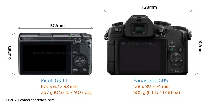 Ricoh GR III vs Panasonic G85 Camera Size Comparison - Back View