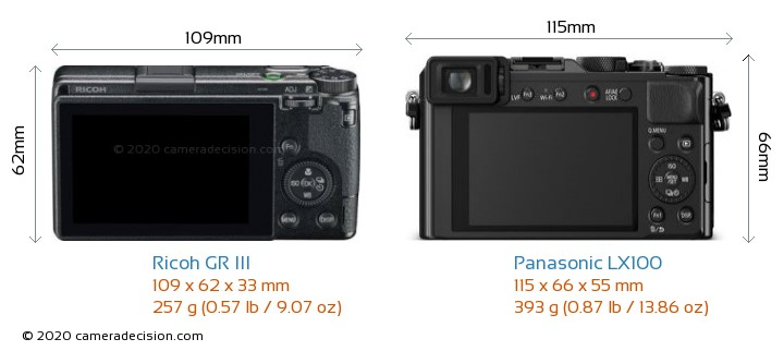 Ricoh GR III vs Panasonic LX100 Camera Size Comparison - Back View
