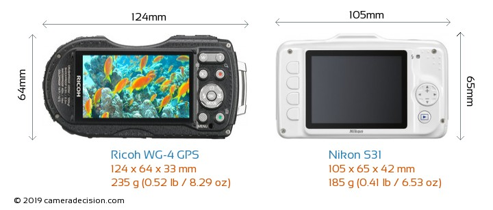 Ricoh WG-4 GPS vs Nikon S31 Camera Size Comparison - Back View