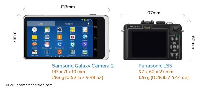 Samsung Galaxy Camera 2 vs Panasonic LS5 Camera Size Comparison - Back View