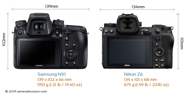 Samsung NX1 vs Nikon Z6 Camera Size Comparison - Back View