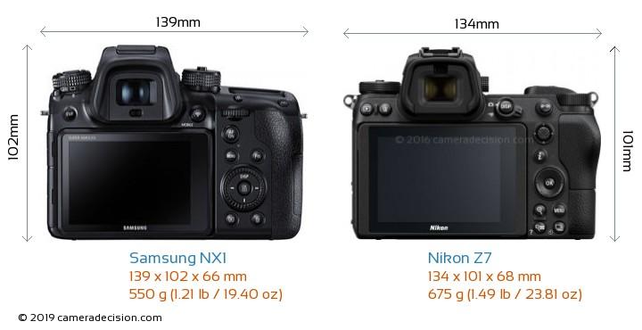 Samsung NX1 vs Nikon Z7 Camera Size Comparison - Back View